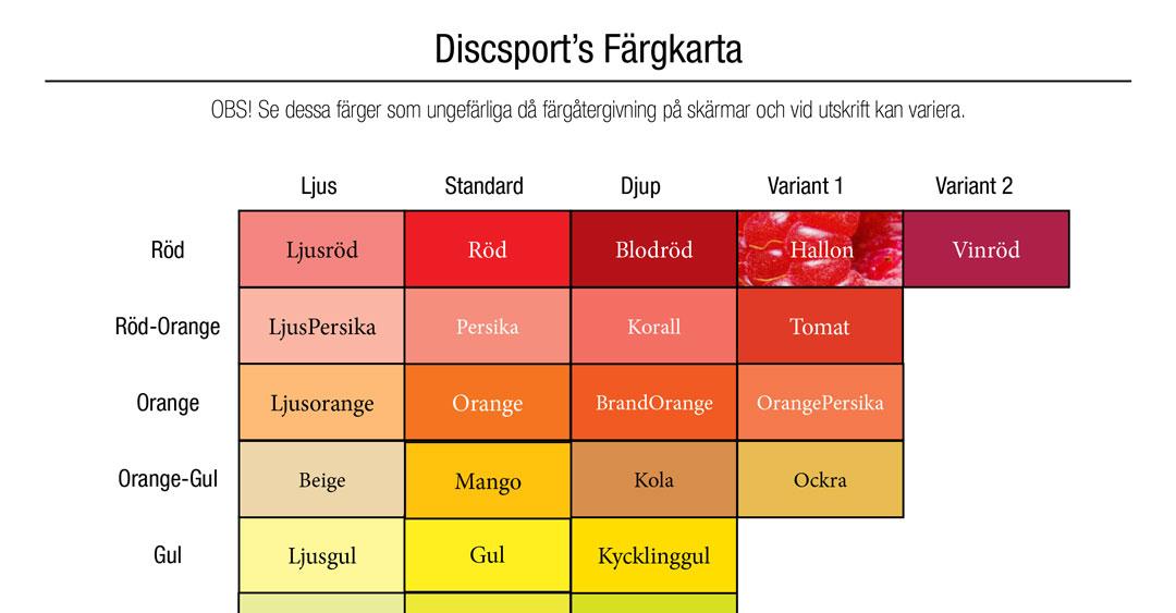 Discsports Färgkarta